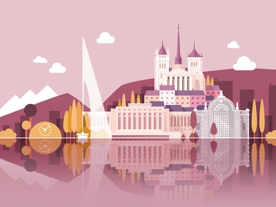 Welcome to Geneva (second color variant) illustration vector flat landscape city monuments colorful naive