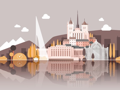 Welcome to Geneva (third color variant) naive colorful monuments city landscape flat vector illustration