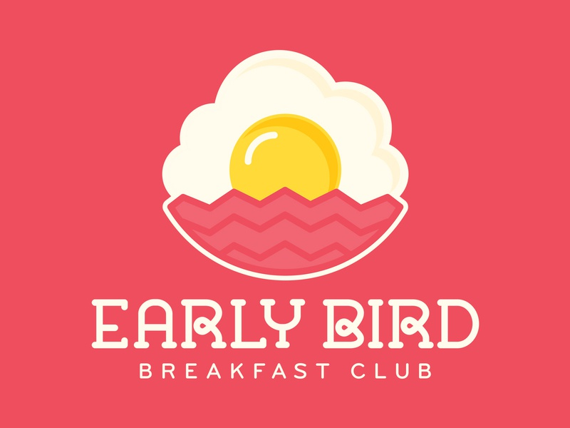 Early Bird Breakfast Club Logo branding logo sunny breakfast restaurant sunrise