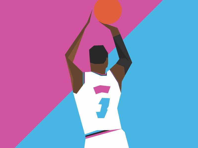 Miami Vice Wade vectorart vector art illustration illustrator heat miami wade fanart basketball
