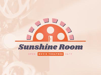 30 Minute Logo Challenge - Sunshine Room projector illustrator illustration doors room sunshine movie logo movie theater film film reel sun sunrise logo logo design