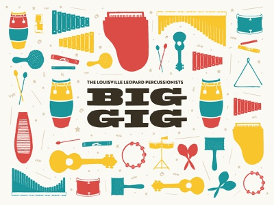BiG GiG Poster Design funky drawing drums piano guitar louisville gig poster instruments illustraion hand draw poster design concert poster