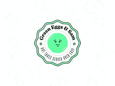 Green Eggs & Sam Badge Logo smiley face smiley green circle logo logo design logo breakfast diner retro logo vintage font vintage logo vintage badge egg badge badge logo