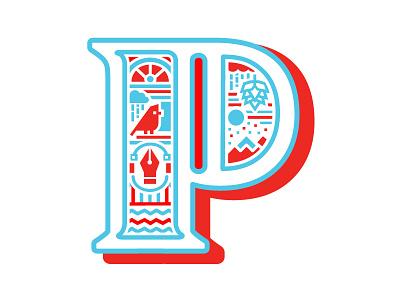 Just a P letterform mountains bird pen tool hops illustration typefight type letter p logo p alphabet