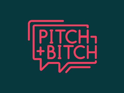 Pitch & Bitch design meetup design meetups critique pitch bitch stroke illustration conversation speech bubble monoline logo monoline logotype logo