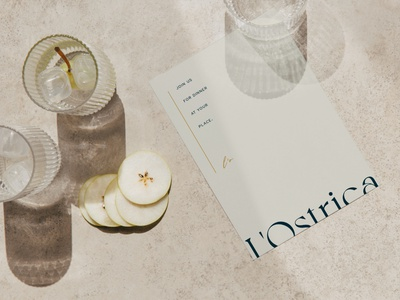 Simple, elegant menu for L'Ostrica vector typography minimal branding logo font design creative
