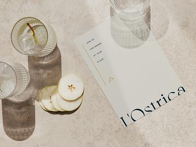 Simple, elegant menu for L'Ostrica vector typography minimal branding logo font design creative