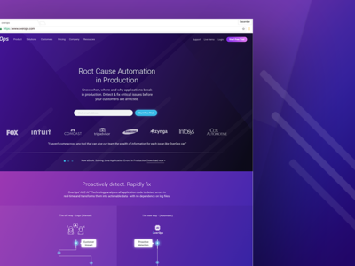 OverOps Homepage landing page ui ux site responsive purple web design interactive ui