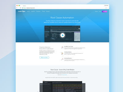 OverOps product page ui ux tech design page website web product ux ui
