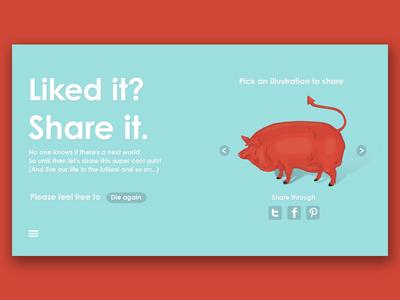 Quiz game screens after life like facebook share ui red illustration game pig design