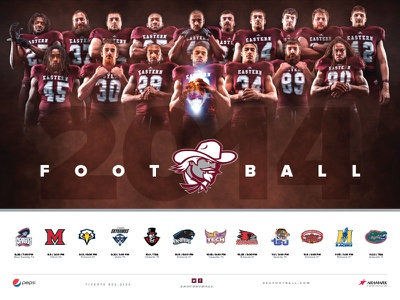 2014 Eastern Kentucky University Football Poster football sports poster maroon sports design athletics college glow photoshop photo manipulation