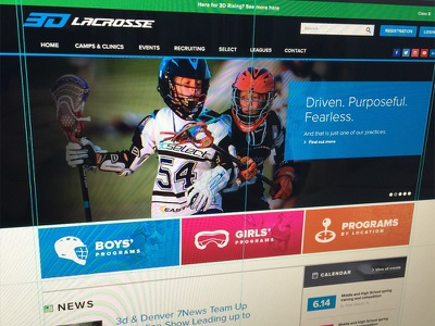 3d Lacrosse Website Screenshot lacrosse visual design screenshot photoshop ui ux hero image sports athletics sports design sports branding