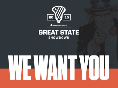 USA Today Sports Great State Showdown Tryouts Ad lacrosse tungsten blue red advertising usa today uncle sam sports
