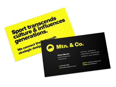 Mtn. & Co. business card mockups digital athletics sports design sports branding sports agency yellow sports mountain mtn