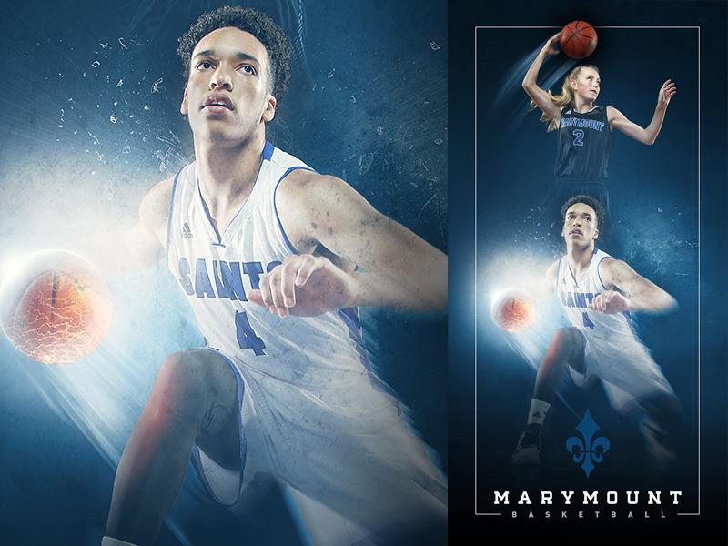 2015-16 Marymount Basketball Banner compositing photo manipulation visual design marymount university basketball sports design graphic design art direction digital art