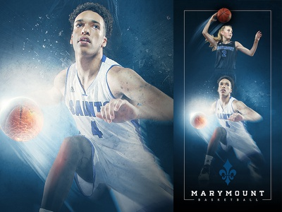 2015-16 Marymount Basketball Banner compositing photo manipulation visual design marymount university basketball sports design graphic design art direction digital art