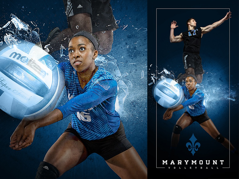 2015-16 Marymount Volleyball Banner compositing photo manipulation visual design marymount university basketball sports design graphic design art direction digital art