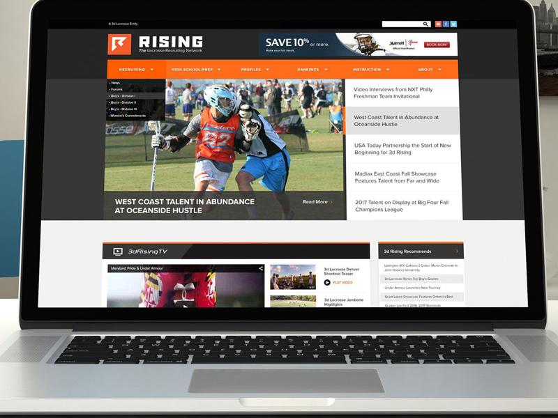 3d Rising Homepage lacrosse web design photoshop user interface ui visual design