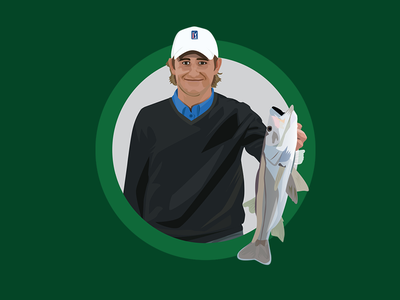 Player Illustrations for the PGA Tour iOS Keyboard App ios sticker emoji fish vector adobe illustrator stickers illustration golf golfer