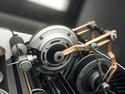 Typewriter 2050 3d cinema4d motion modeling typewriter needle pin