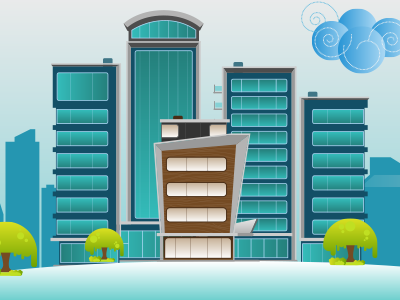Enterprise design structure graphics building illustration