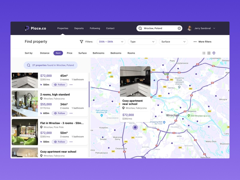 Real estate map sort filters house items wroclaw buy rent interaction ux ui search find property map real estate