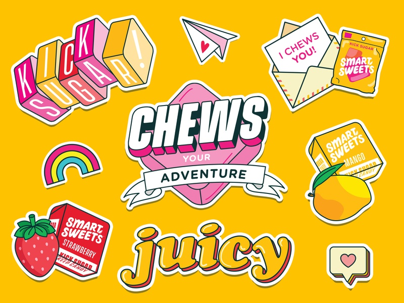 SmartSweets Sweet Chews™ Stickers chew adventure chewy yellow sweets mango strawberry juicy candy print illustration stickers