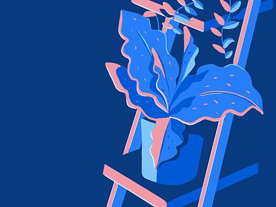 Shadows digital painting graphic design color colour botanical plants blue pink design illustration
