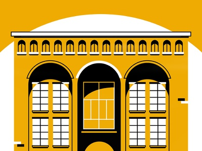 Big Picture animation frame storyboard color flat shadows architecture building contrast yellow office illustration