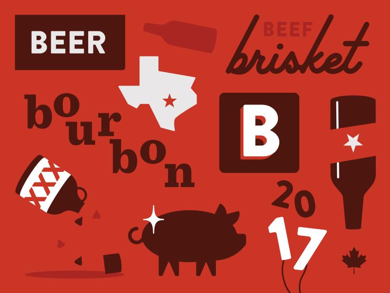 SXSW 2017 southern bourbon red pattern illustration brisket pig beer canada austin bbq sxsw