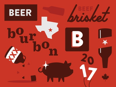 SXSW 2017 southern bourbon red pattern illustration brisket pig beer canada austin bbq sxsw