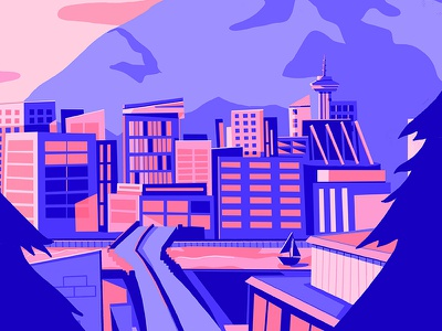 Summer in Vancouver landscape illustration cityscape blue pink summer vancouver