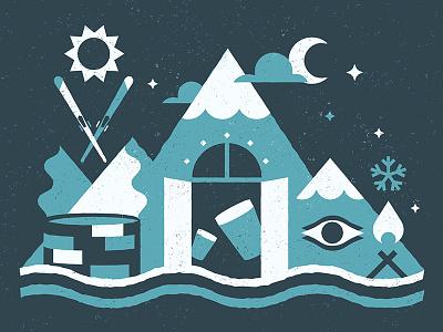 Mountain Concept ski resort stars flat blue winter illustration evening night mountain whistler