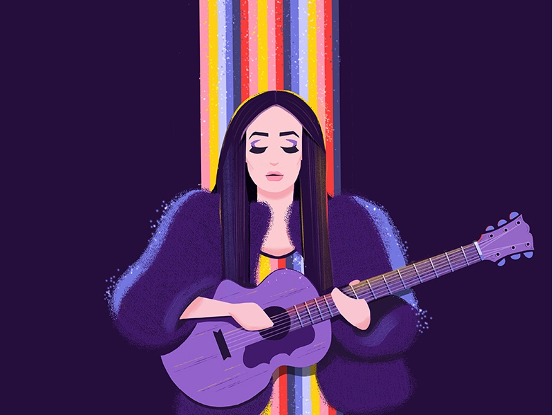 Kacey Musgraves colourful digital painting character illustration fan art concert guitar spotlight purple rainbow kacey musgraves