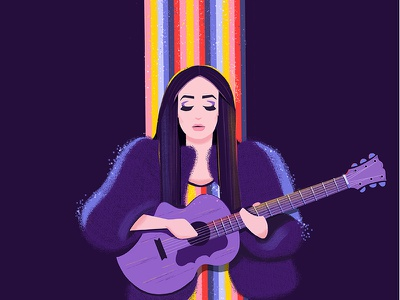 Kacey Musgraves colourful digital painting character illustration fan art concert guitar spotlight purple rainbow kacey musgraves