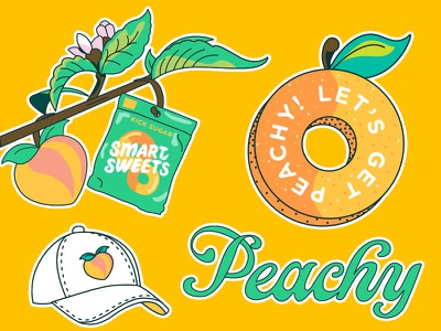 SmartSweets Stickers, Vol. 2 stickers vector smartsweets candy flower hat peachy peaches illustration