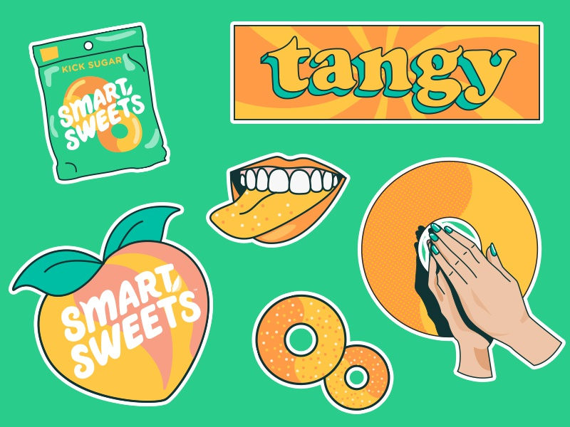 SmartSweets Stickers, Vol. 3 comic green orange merch pray sweet sour tangy candy smartsweets peachy stickers design illustration