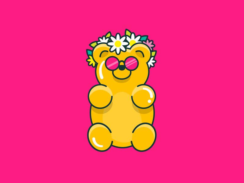Summer Gummy 🌸 gummy flowers sunglasses character sugar smart sweets flat smartsweets illustration candy gummy bear
