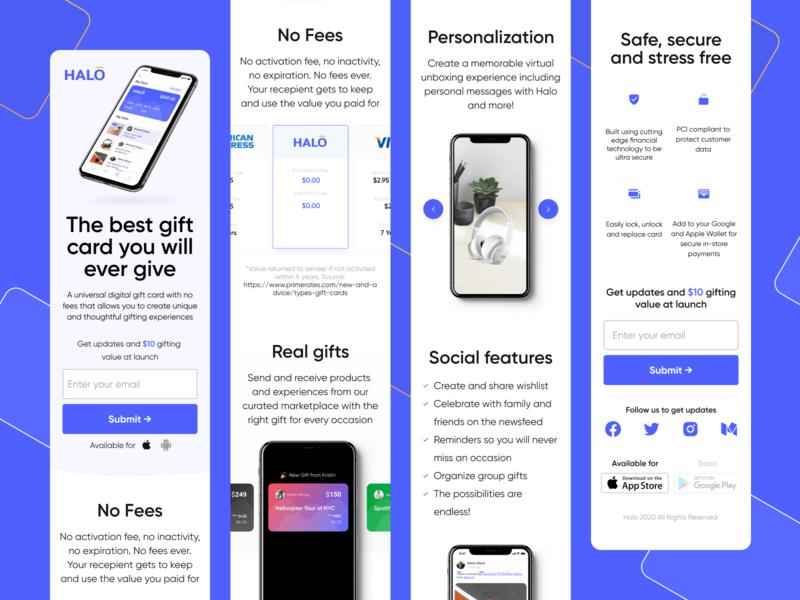 Halo · Tech startup design startup card gift app website figma web design web ux ui