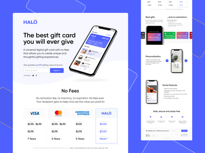 Halo · Tech startup startup gift card app website figma web design web ux ui