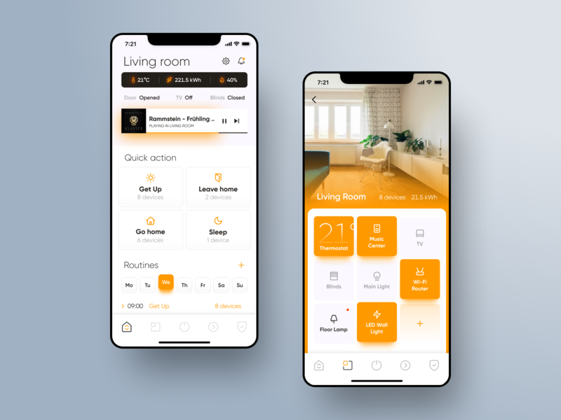 Smart Home App • Light theme light theme ux design ui design smart technology mobile app ios orange white ux ui smarthome design warm clean app