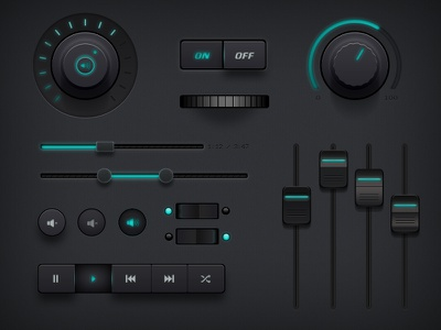 Free Dark Ui Kit freepsd ui buttons elements toggle interface dark free psd navigation dials download light freebies volume music on off kit