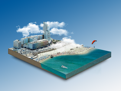 A slice of TLV retouch city scape cloud sky beach travel israel tel aviv photoshop ocean tlv 3d