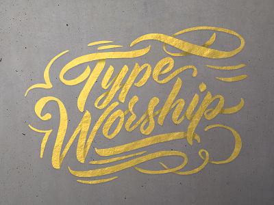 Typeworship logotype brush type hand type hand drawn typography calligraphy lettering brush type worship