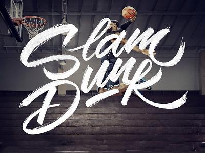 Slam dunk calligraphy brushpen font typography logotype. lettering