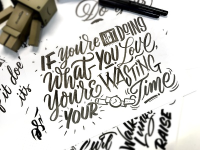 Love what you do type letters calligraphy typography brush lettering