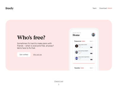 Freely landing page