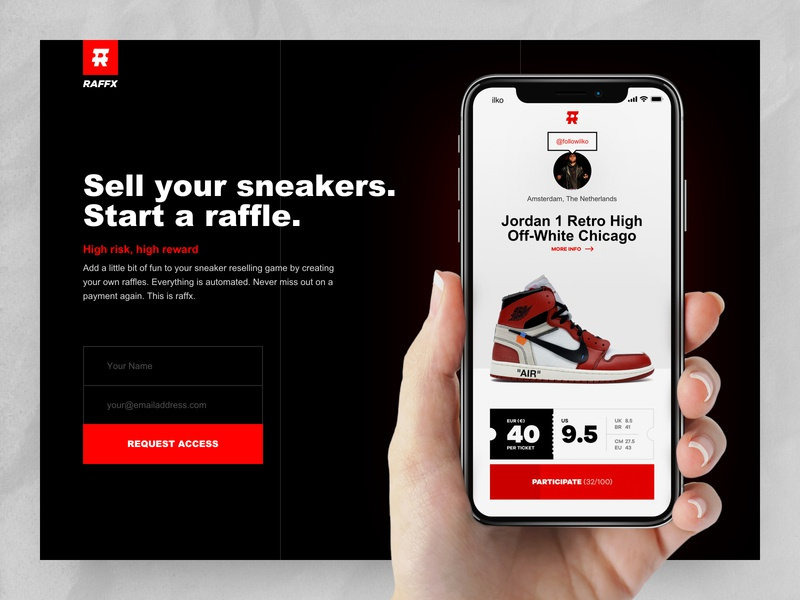 RAFFX coming soon landing marketplace platform reseller sneaker minimal coming soon landingpage