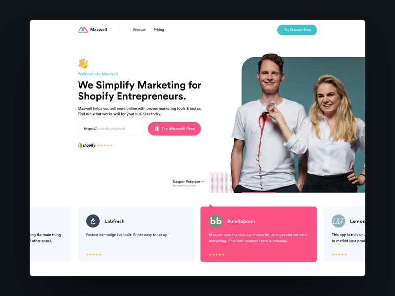 Maxwell - Landingpage Intro followilko carousel slider marketing site plugin shopify minimal landingpage