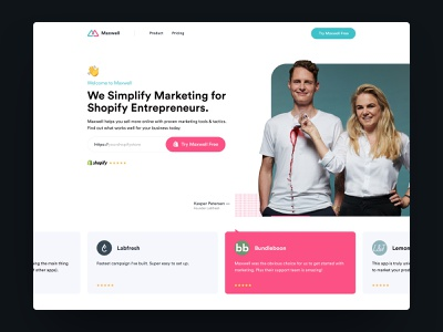 Maxwell - Landingpage Intro followilko carousel slider marketing site plugin shopify minimal landingpage